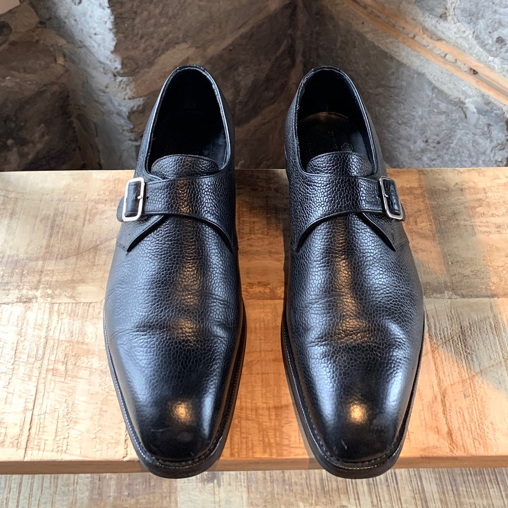 Edward Green Black Leather Monk Strap Shoes