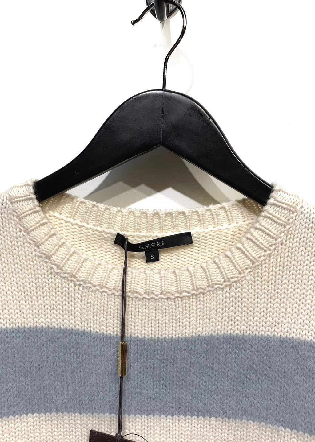 Gucci Ivory & Blue Striped Angora Blend Sweater