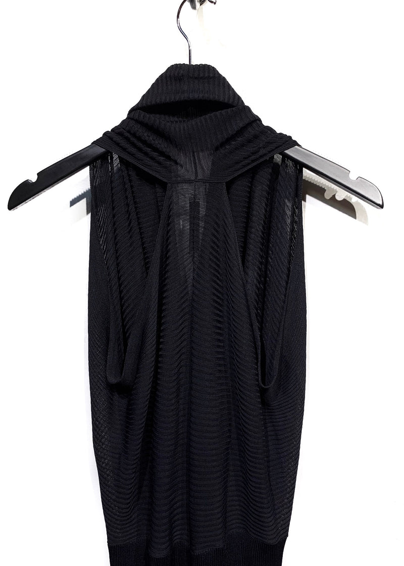 Balenciaga Black Ribbed Sleeveless Dress