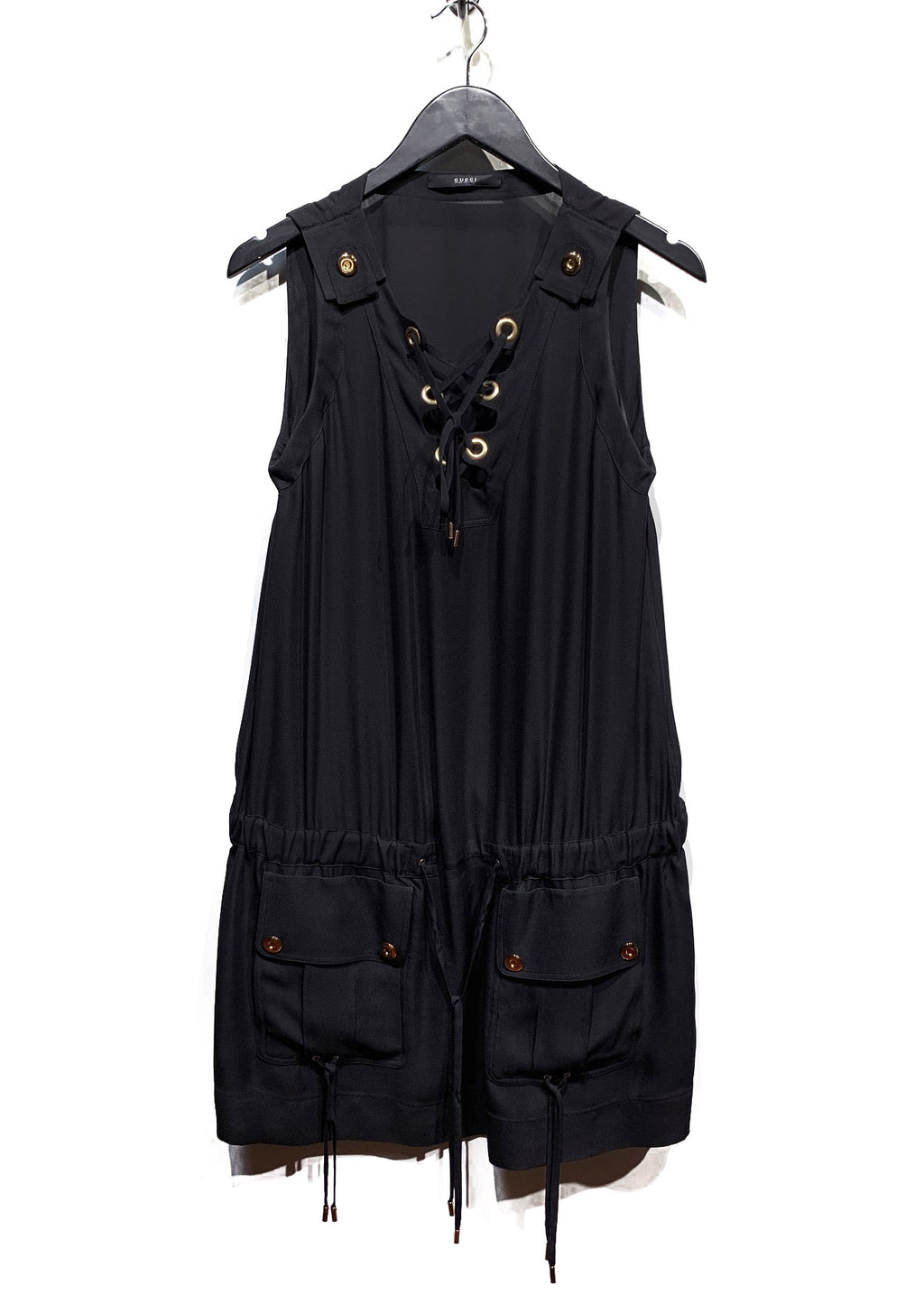 Gucci Black Laced Safari Silk Jumpsuit Dress