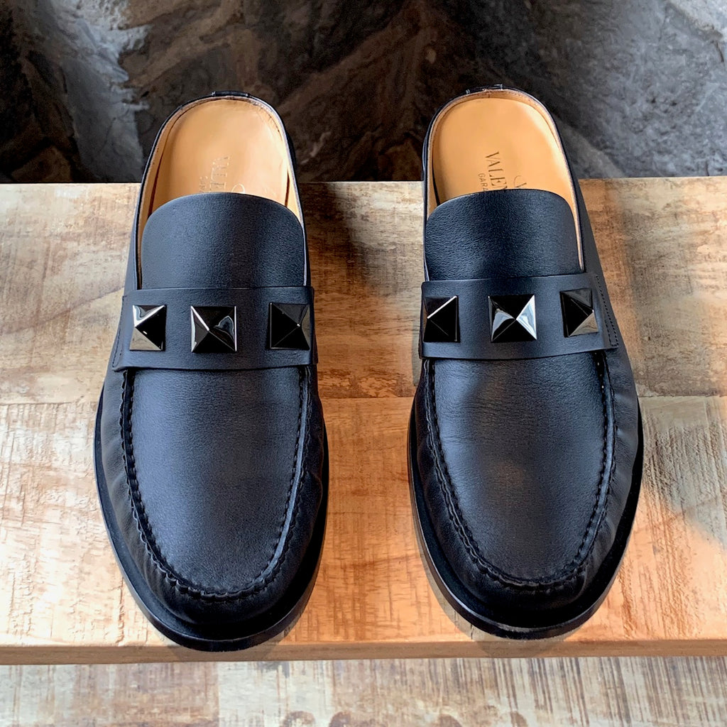 Valentino Black Leather Gunmetal Rockstud Slipper Loafers