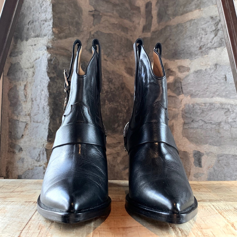 Toga Pulla Black Leather Harness Heeled Western Boots