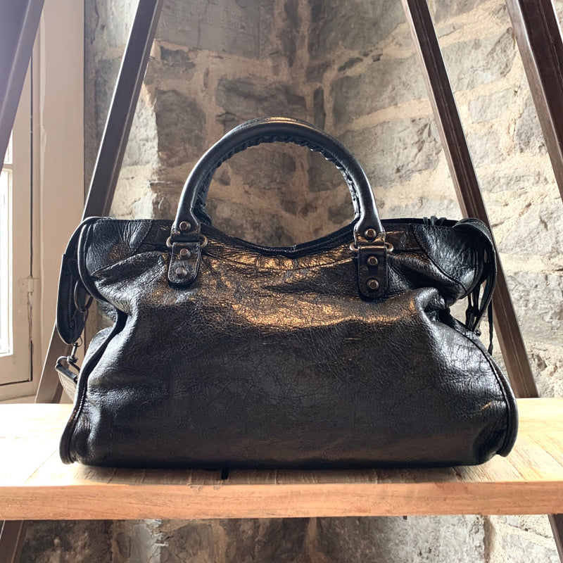 Balenciaga Black Leather Medium Motocross Classic City Bag