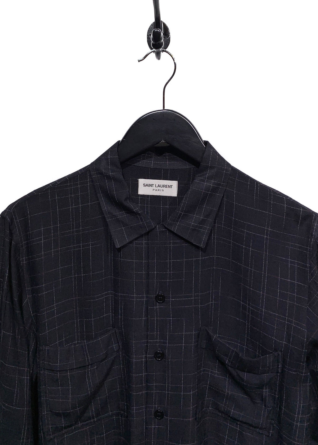Saint Laurent Black Checkered Pocketed Button Shirt