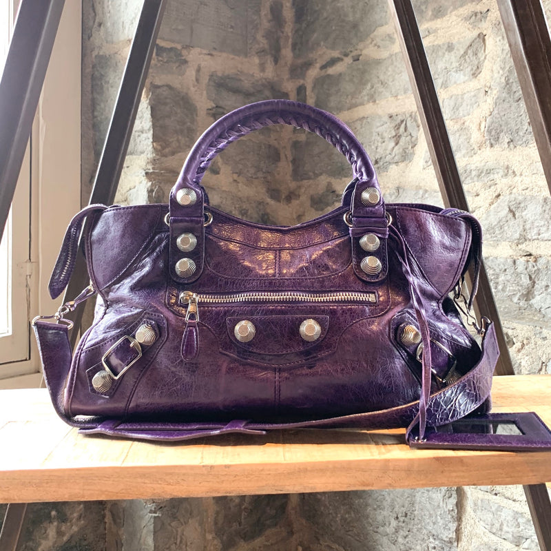 Balenciaga Purple Classic Motocross City Bag