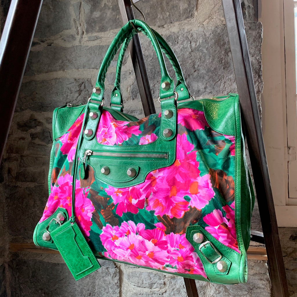 Balenciaga 2008 Giant City Green Flower Print Handbag