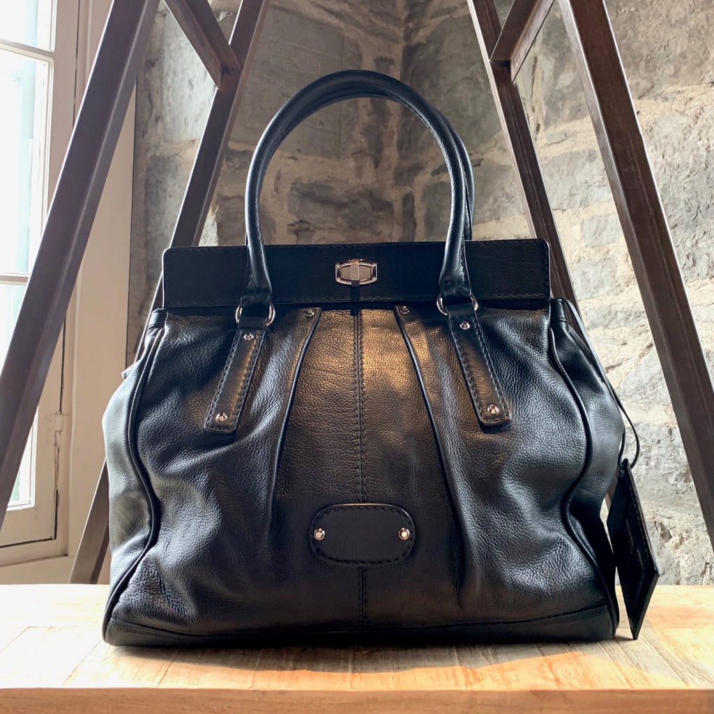 Balenciaga Black Large Shoulder Bag with Clasp Detail