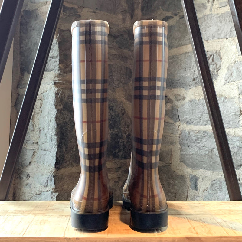 Burberry Haymarket Check Pattern Rubber Rain Boots
