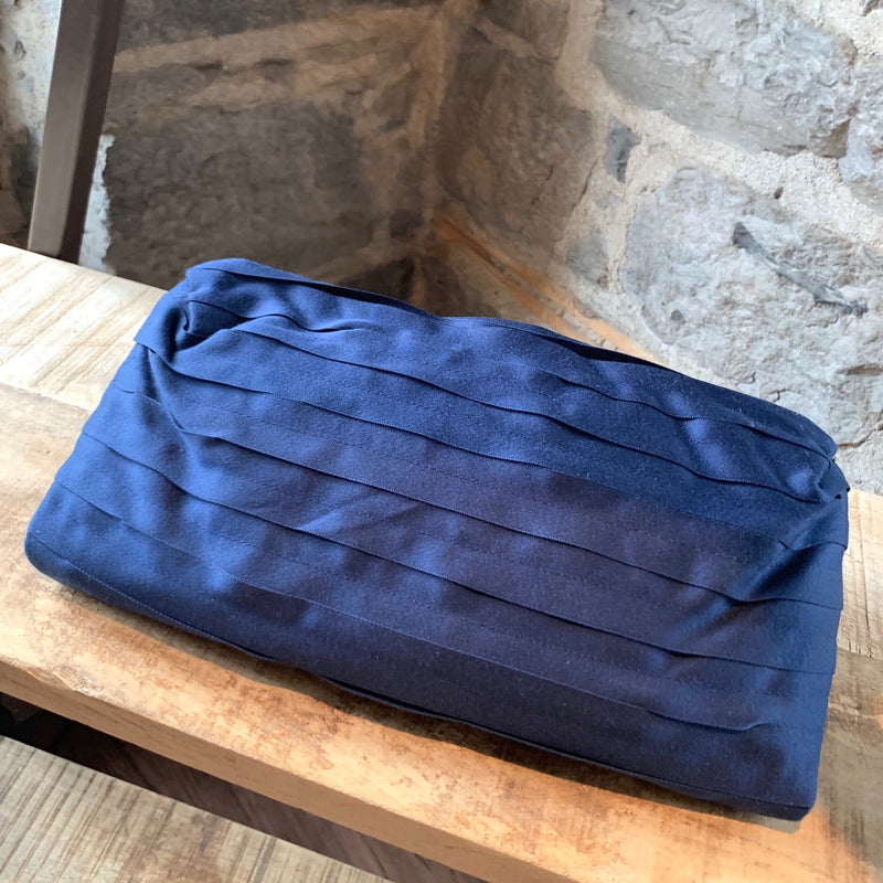 Lanvin Navy Ribbon Flap Clutch