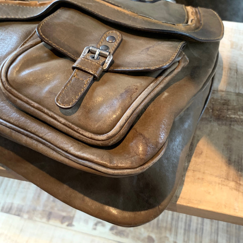 Christian Dior Medium Olive Brown Gaucho Double Saddle Bag
