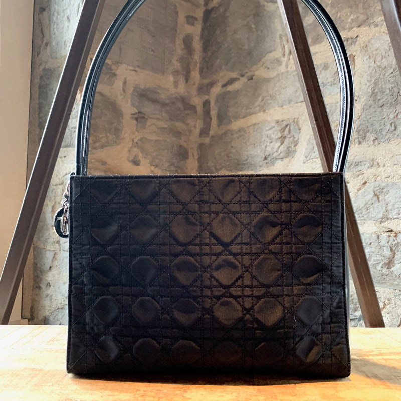 Christian Dior Black Canvas Cannage Shoulder Bag