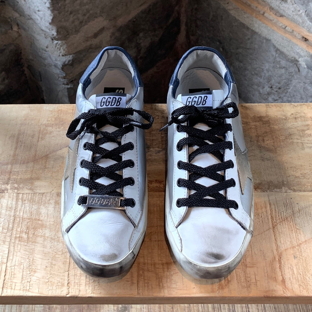 Golden Goose Silver Metallic Superstar Distressed Sneakers