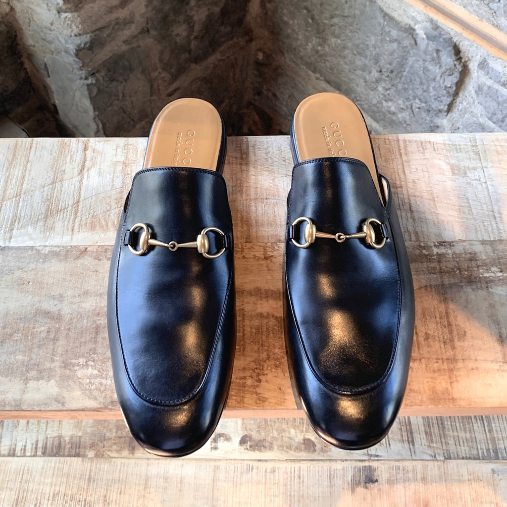Gucci Black Leather Horsebit Slip-on Loafers