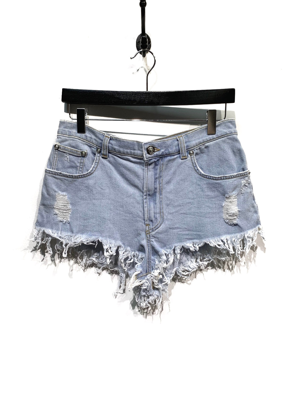 Versus Light Blue Denim Mini Shorts
