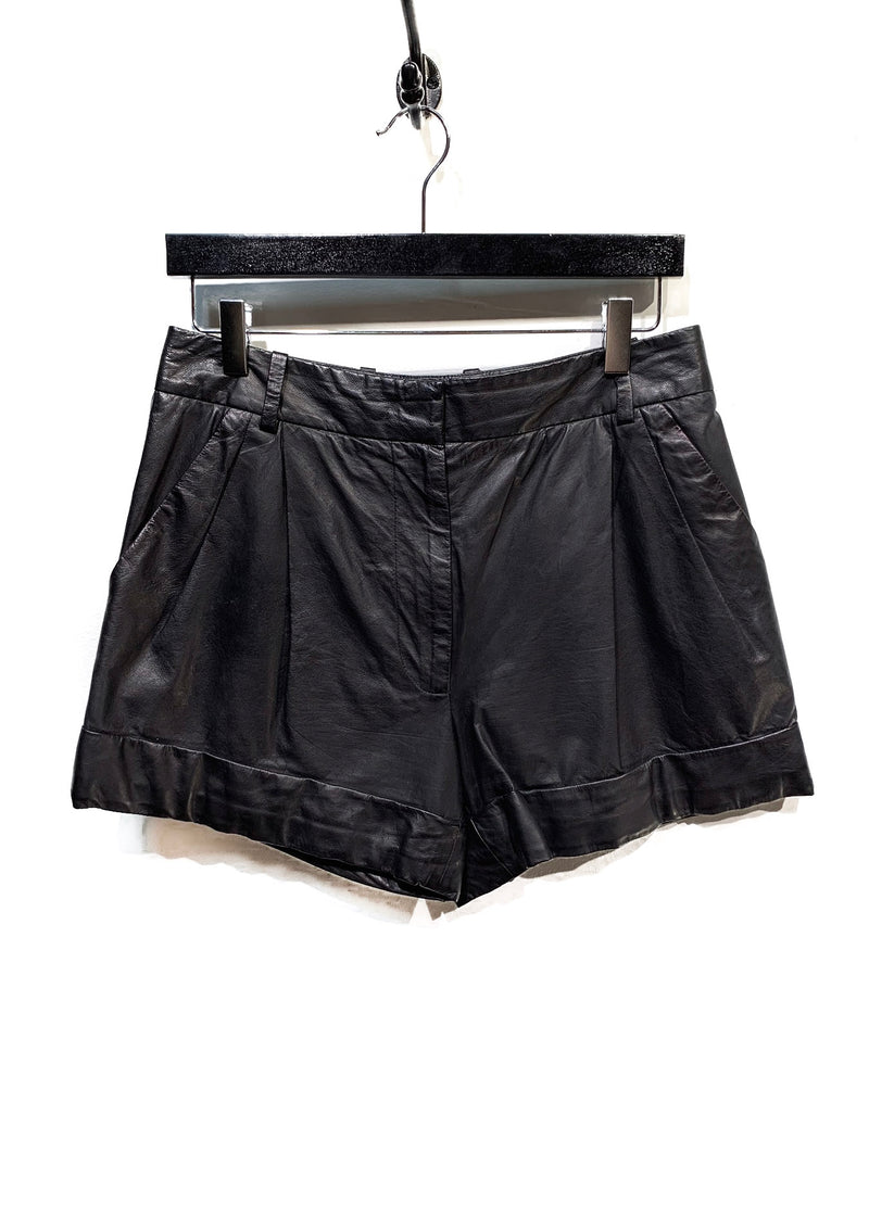 3.1 Phillip Lim Black Leather Shorts
