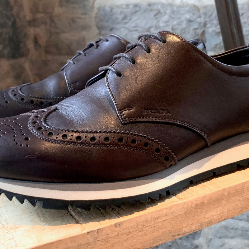 Prada Brown Leather Brogues Oxfords