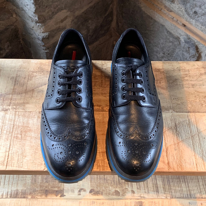 Prada Midnight Blue Leather Brogues Oxfords