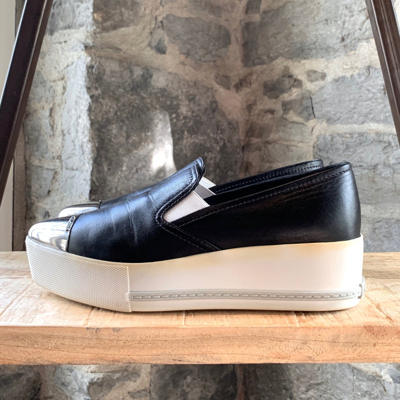Miu Miu Black Leather Cap-Toe Platform Sneakers