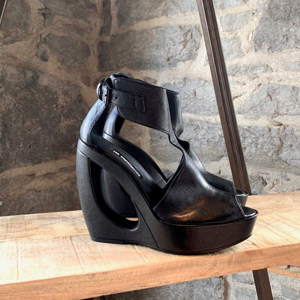 Ann Demeulemeester Black Leather Cut Out Sculpted Sandals
