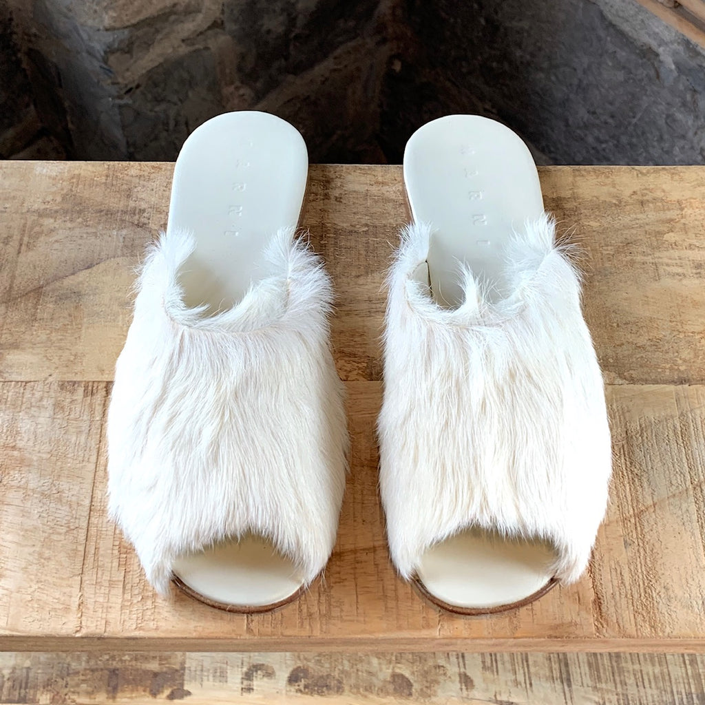 Marni Ivory Fur Slides Slippers