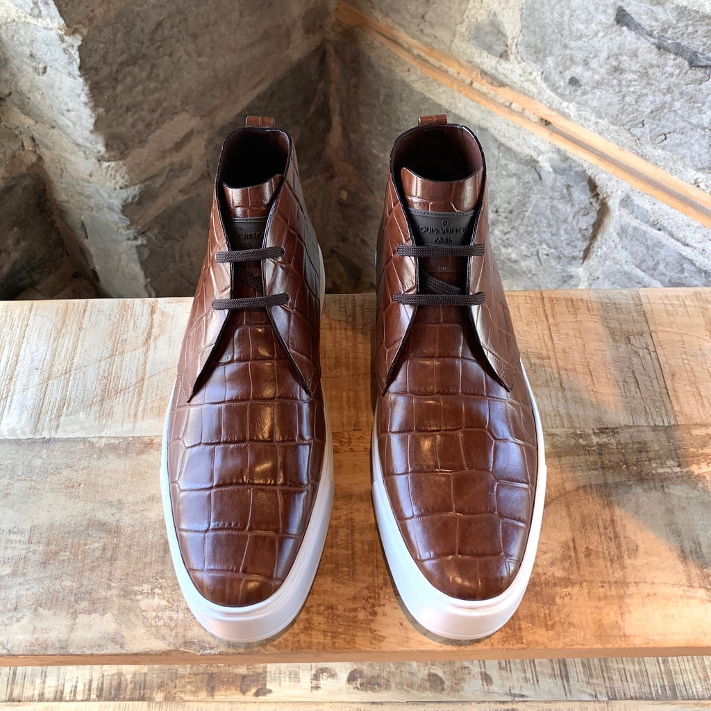 Louis Vuitton Brown Croc Embossed Desert High-top Sneakers