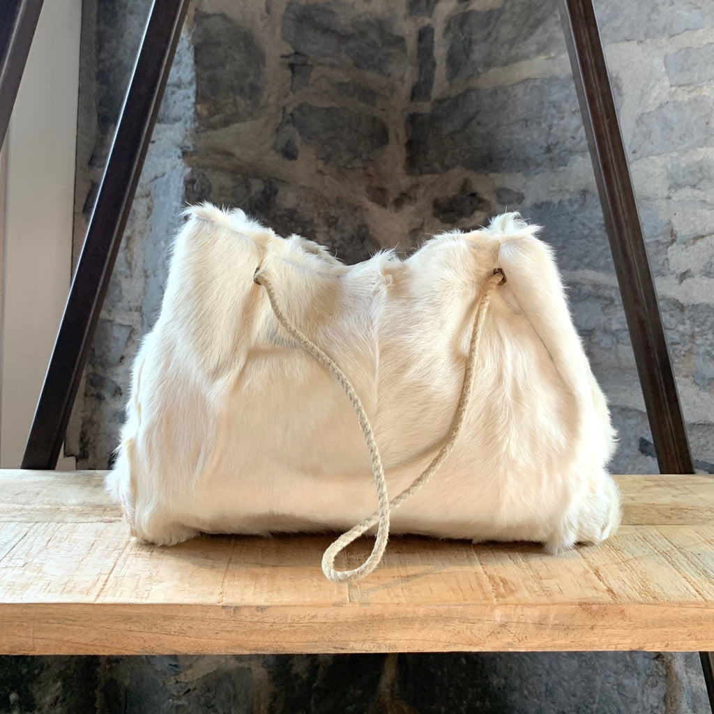 Marni Ivory Fur Draw Cord Bag