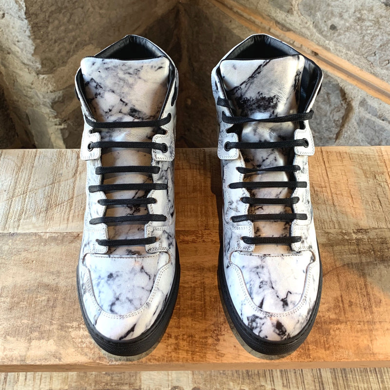 Balenciaga White Marble High-Top Sneakers