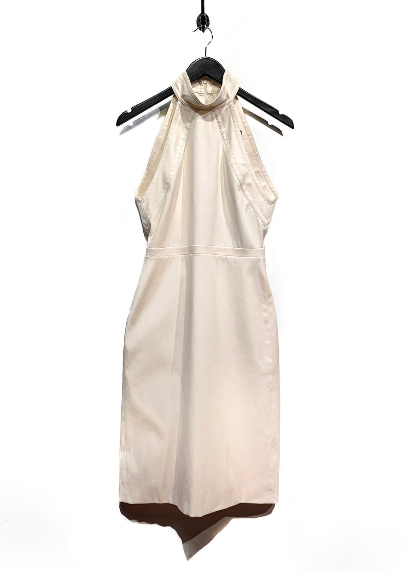 Gucci Pearl White Stretch Cotton Sleeveless Dress