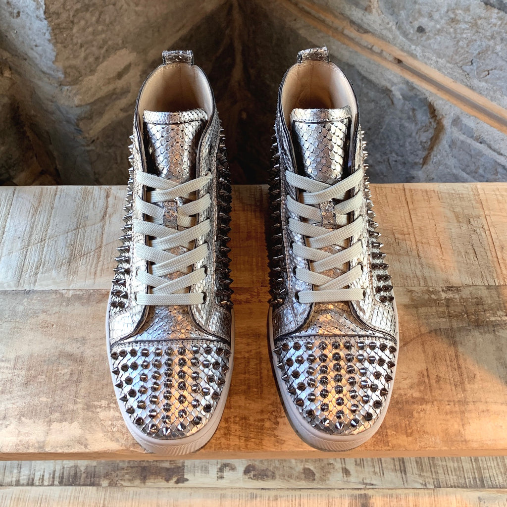 Christian Louboutin Silver Python Louis Orlato High-Top Sneakers