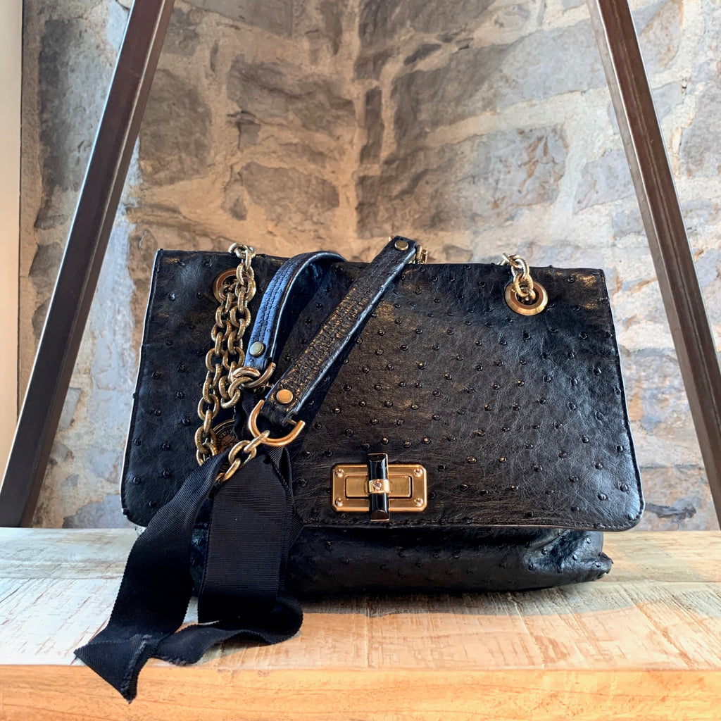 Lanvin Black Ostrich Happy Chain Flap Bag