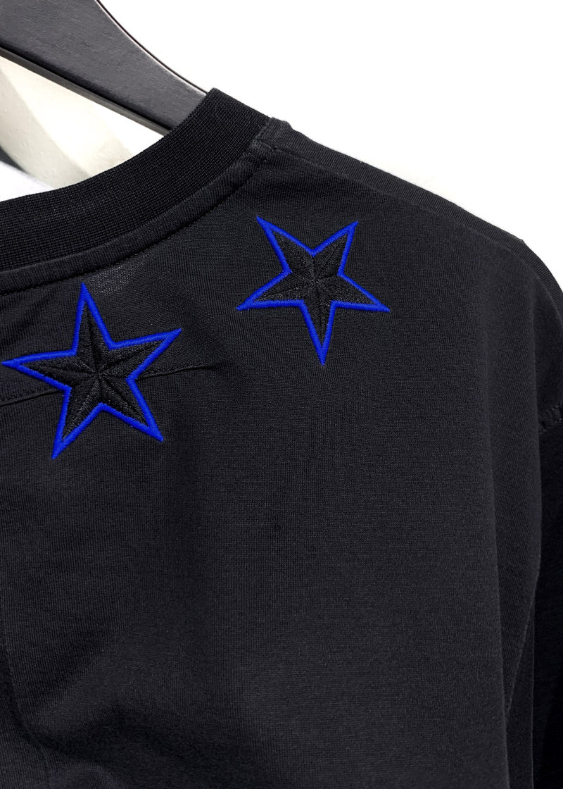 Givenchy Black Columbian Star Embroidered Oversized T-shirt