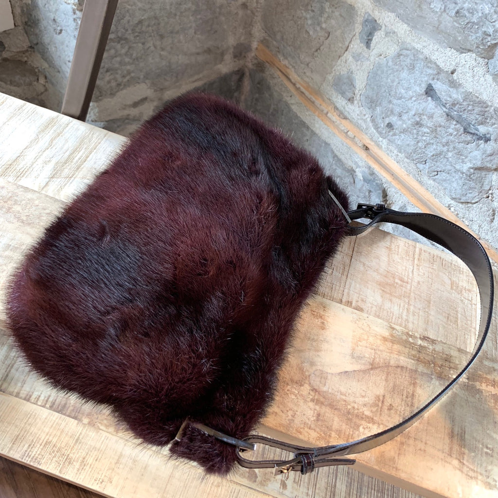 Gucci Burgundy Mink Fur Shoulder Bag