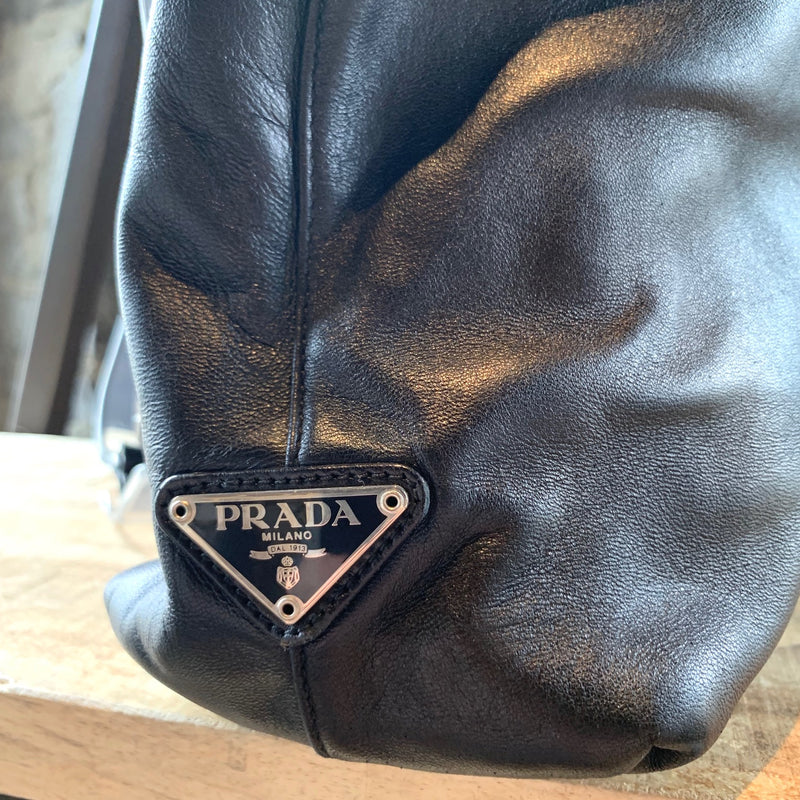 Prada Black Nappa Leather Transparent Resin Strap Shoulder Bag
