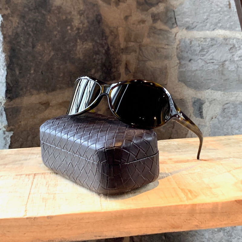 Bottega Veneta BV01SL Brown Tortoiseshell Studded Sunglasses