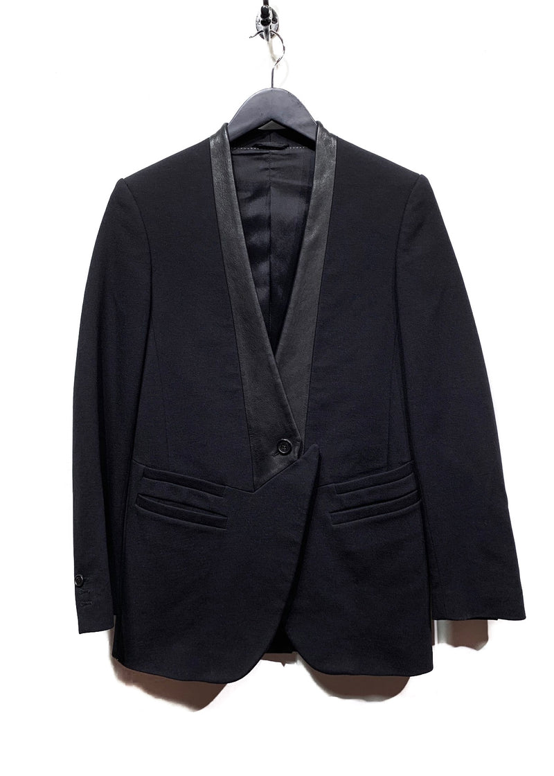 Neil Barrett Black Leather Lapel Tuxedo Blazer