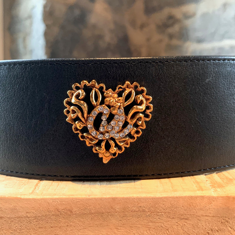 Christian Lacroix Vintage Large Embellished Black Leather Belt