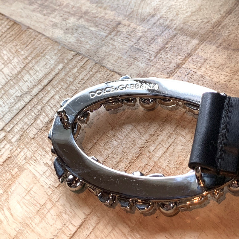 Dolce & Gabbana Black Leather Crystal Embellished Studded Belt
