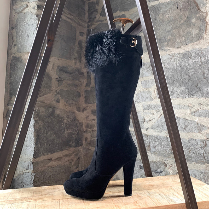 Gucci Black Suede Mink Fur Detail High Heeled Boots
