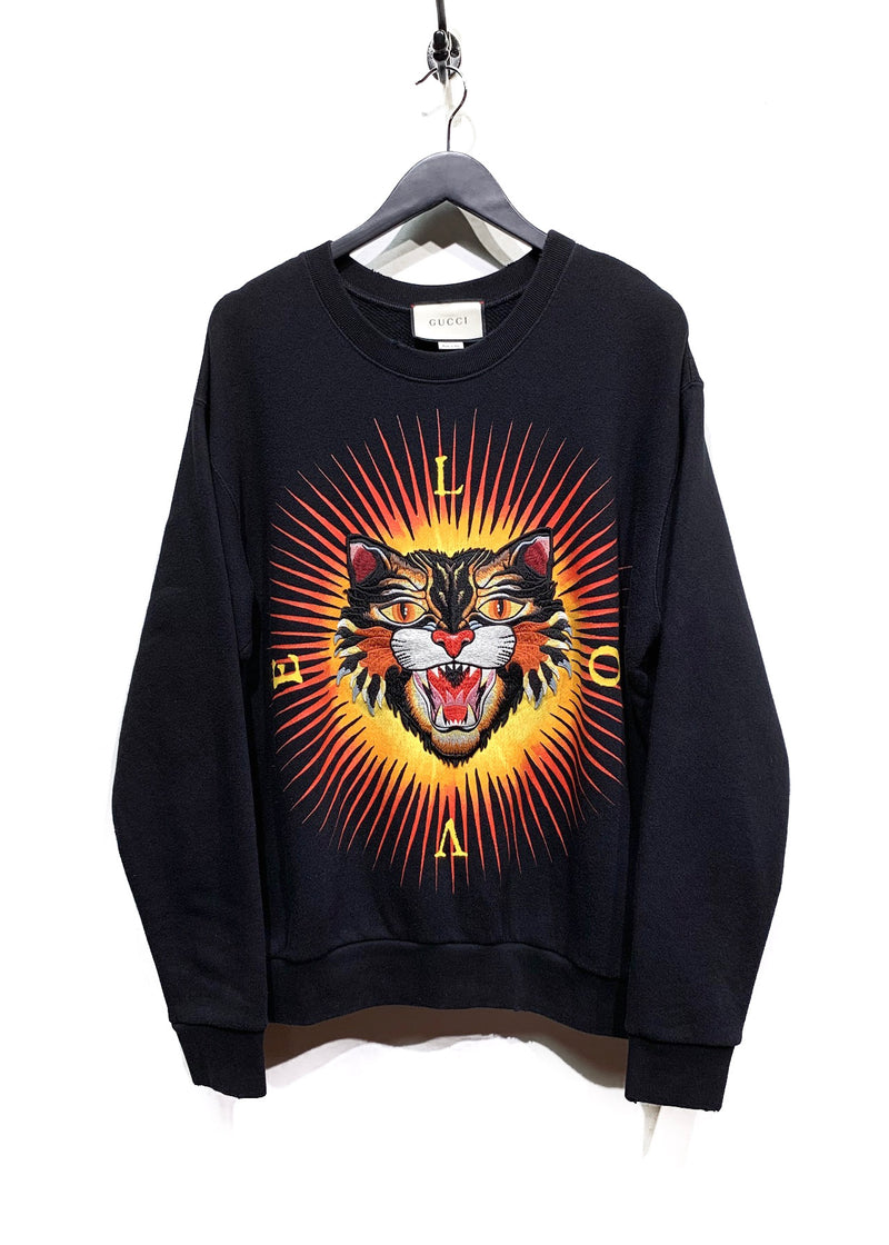 Gucci Black Angry Cat Embroidered Appliqué Distressed Sweatshirt