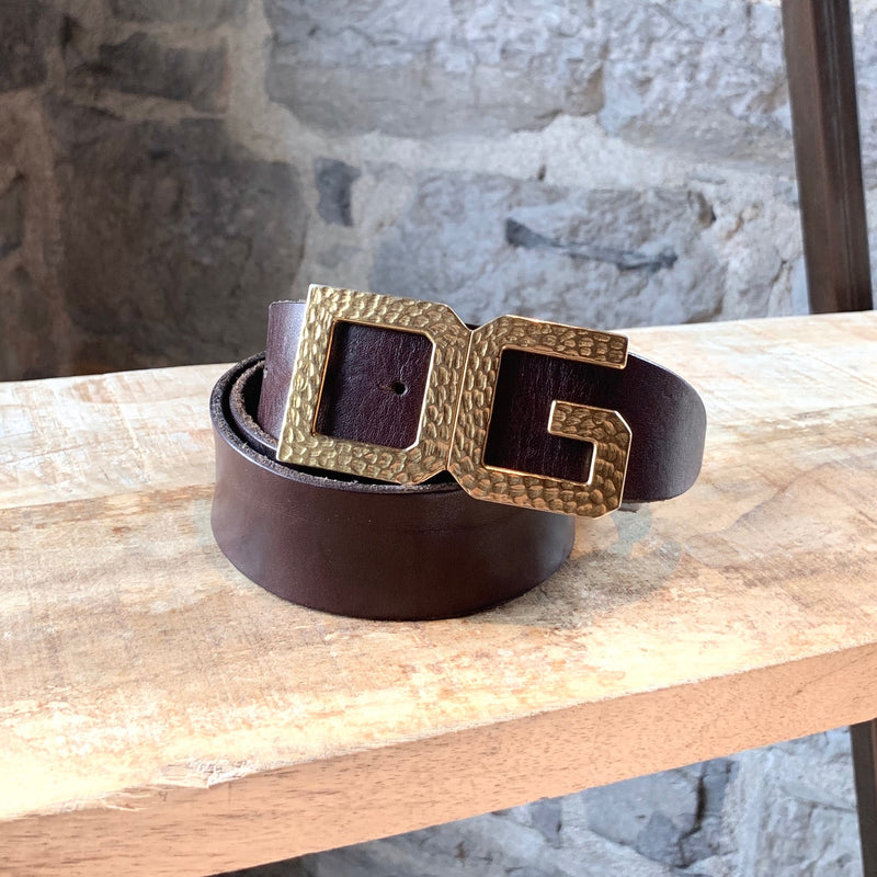 Dolce & Gabbana Brushed Gold Hammered Buckle Leather Belt