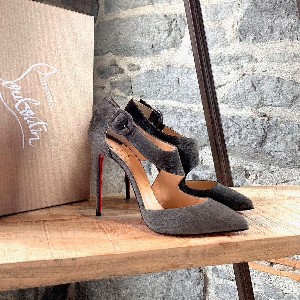 Christian Louboutin Sharpeta Grey Suede Pointy Pumps
