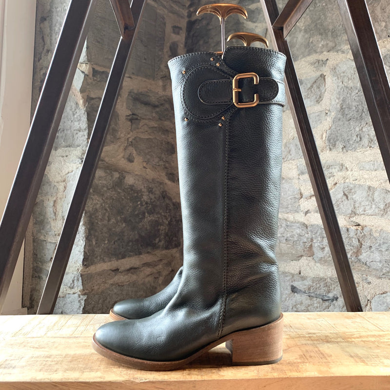 Chloé Green Riding Boots with Brushed Gold Hardware