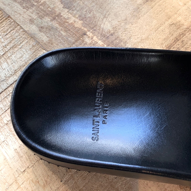 Saint Laurent Joan Black Leather Logo Slide