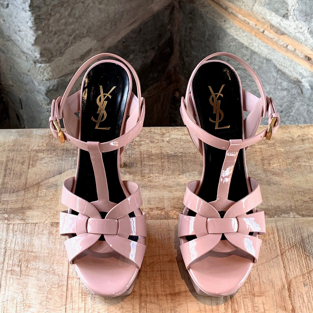 Saint Laurent Blush Pink Patent Leather Tribute 105 Sandals
