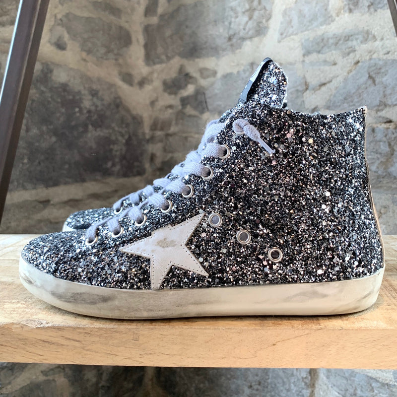 Golden Goose Silver Glitter Francy High-Top Sneakers