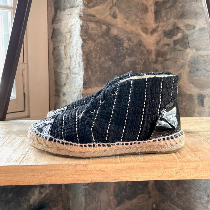 Chanel Navy Lambskin Leather CC Espadrilles
