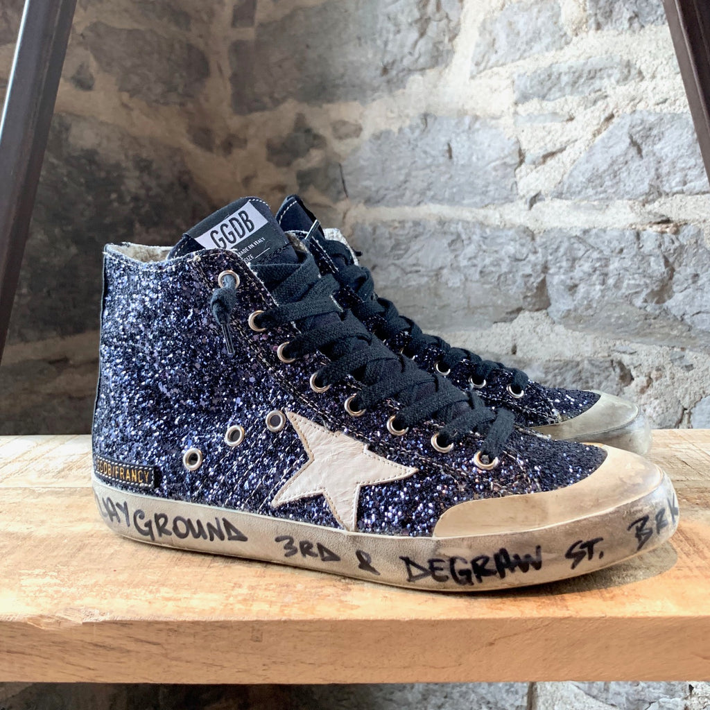Golden Goose Navy Blue Glitter Francy High-Top Sneakers
