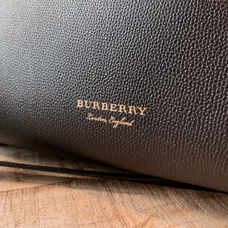 Burberry Black Leather House Check-Trimmed Banner Tote