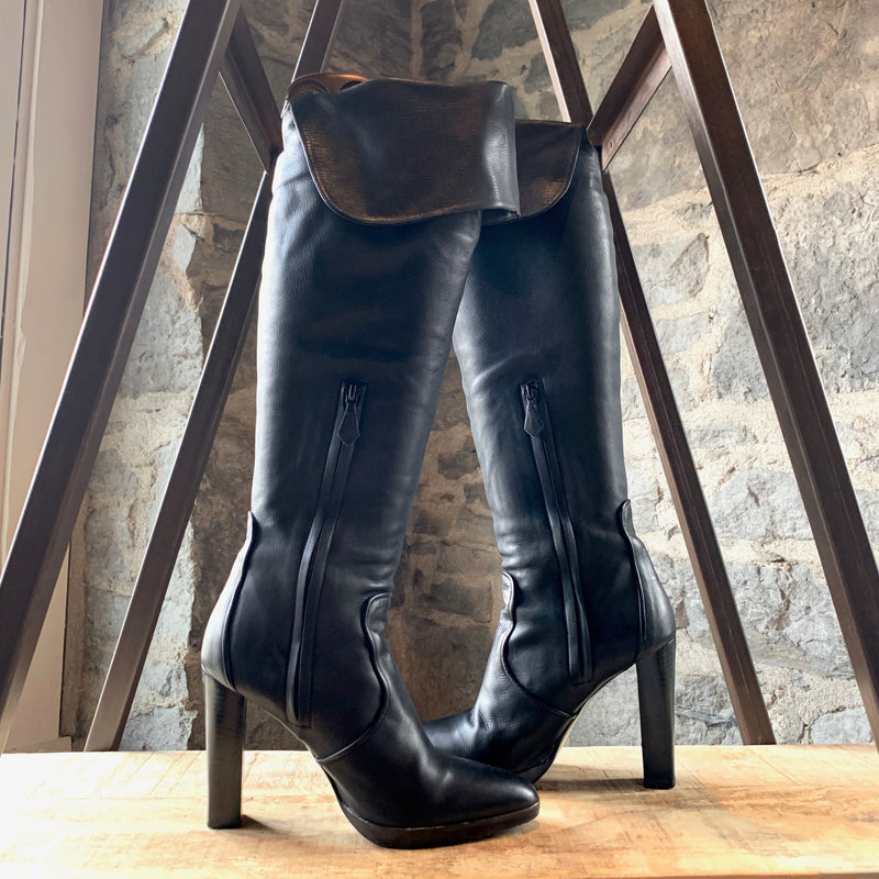 Hermès Black Leather Tall Heel Boots