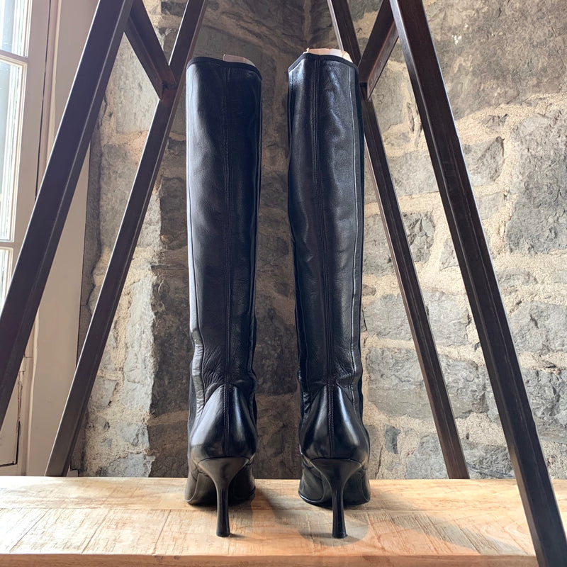 Chanel Black Leather Suede Combo Kitten Heeled Boots